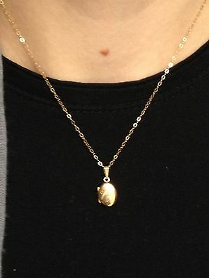 Vintage 9ct Solid Yellow Gold Link Chain  Locket Necklace 16 Inch Choker Musical