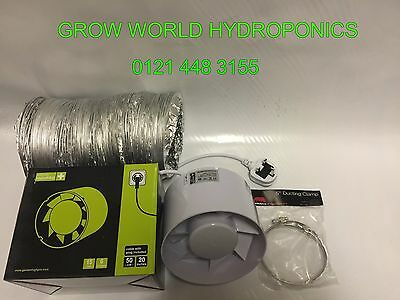 "6"" Inch 150mm Inline Extractor Intake Grow Room Fan 3M Ducting & 2 Ducting Clips"
