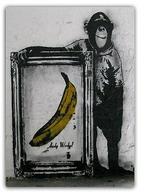 Le Rat Monkey Painting Metal Wall Sign Plaque Art Inspirational Banksy Graffiti
