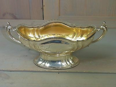 YH7 Beautiful Clear Glass Fruit Candy Bowl Chromed Tin Vintage German 1960's