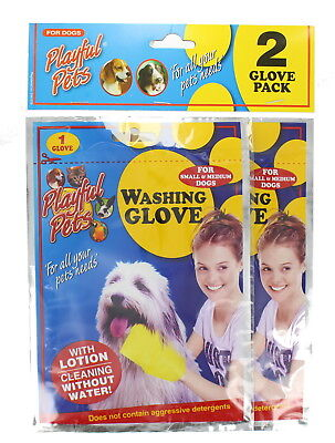 Playful Pets Pack of 2 Dog Washing Glove with Lotion No Water