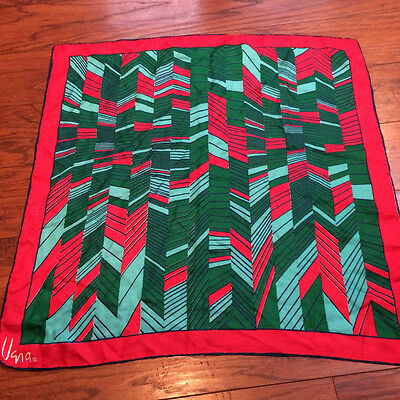 "Vintage VERA Scarf Red Green Blue Abstract Print 22"" Square"