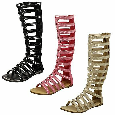 WHOLESALE Girls Knee High Gladiator Sandals  / Sizes 11x5 / 16 Pairs / H0222