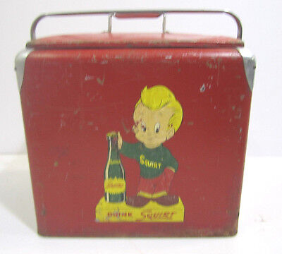 Vintage Red Metal Portable Cooler 1950s Squirt Soda Pop Man Cave