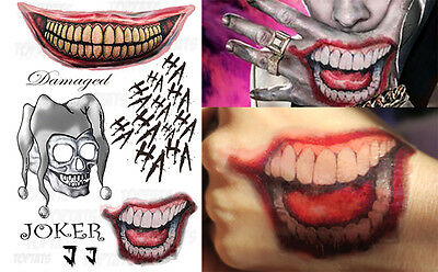 Joker Suicide Squad Fancy Dress Halloween Outfit Costume Temporary Tattoos J1