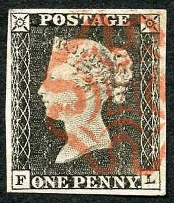 1840 Penny Black (FL) Plate 1a Very Fine Four margins