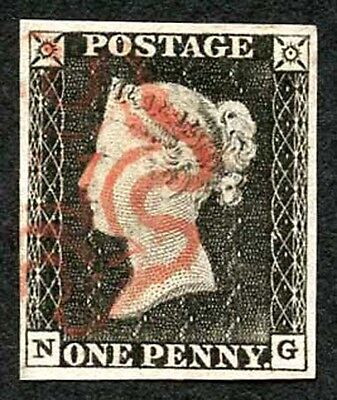 Penny Black (NG) Plate 1 Very Fine Four Margins