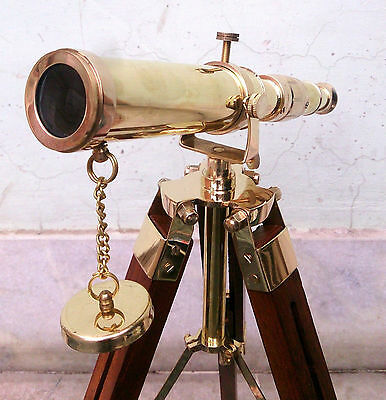 Maritime Collectible Nautical Solid Brass Spyglass Telescope With Wood Tripod.