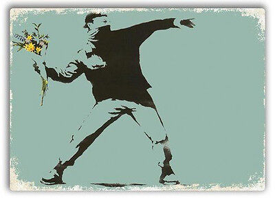 Flower Thrower Hooligan Metal Wall Sign Plaque Art Banksy Graffiti Street