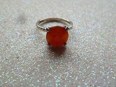 Vintage Carnelian Solitaire Sterling Silver Ring