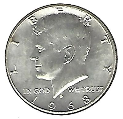 """US 1968-D Kennedy Half Dollar 40% Silver EXCELLENT DOUBLE """"D""""...Must See !!!"""