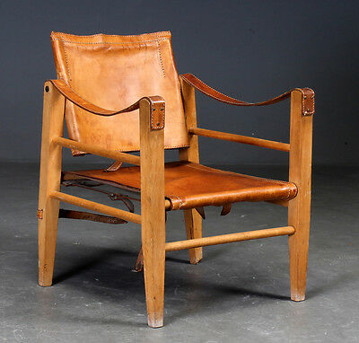 VINTAGE RETRO DANISH COGNAC LEATHER SAFARI CHAIR 1970's
