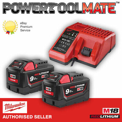 Milwaukee M18NRG-902 Energy Pack 2 x M18B9 9.0Ah Batteries and Charger