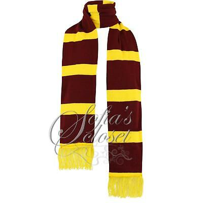 Harry Scarf UK Knitted Burgundy Yellow Football School Wizard Gryffindor Book