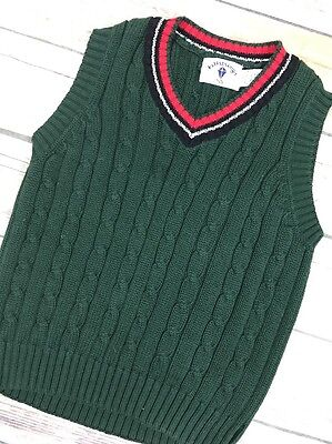 Kitestrings Green Cable Knit Sweater Vest Size 5/6 Red Navy Trim Boys Cotton A1