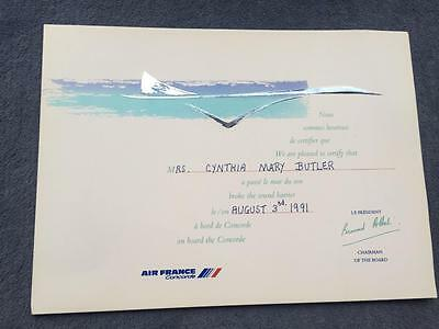 Air France Concorde Supersonic Flight Certificate August 3rd 1991