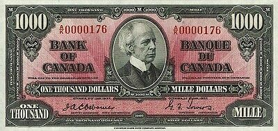 Canada 1-1000 Dollars 1937 Series Complete Set Reproduce