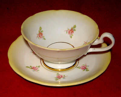Royal Stafford Tea Cup & Saucer Pink Roses In Yellow