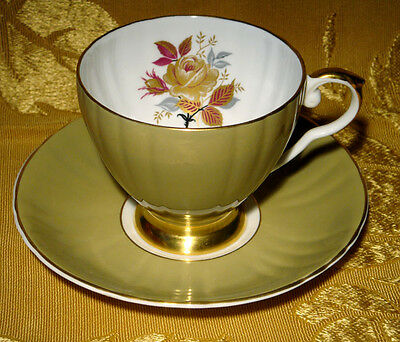 Royal Grafton Olive Green Cup & Saucer Rose Made In England K9110