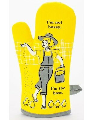 """Blue Q """"I'm not bossy, I'm the boss"""" Oven Mitt Chickens feed country vintage NEW"""