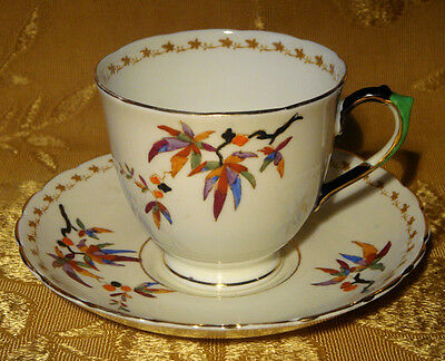 Vintage Tuscan Tea Cup & Saucer Tree Branch With Leaves Pattern