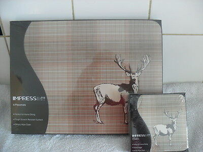 Set of 6 Place Mats and Matching Coasters IMPRESS Stag Home Dining BNIB