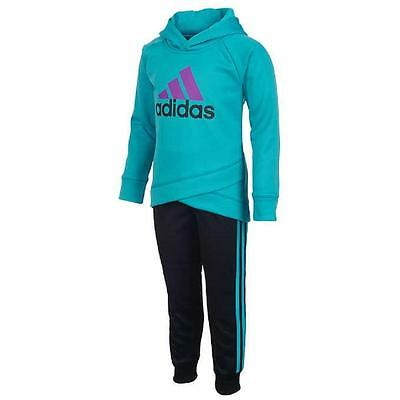 Adidas Girl's Tracksuit Sweat Suit Activewear 2 Piece Set, Turquoise