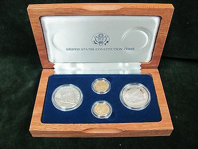 1987 4 Piece Constitution Commemorative Set  $5 UNC & Proof Gold, $1 UNC & Proof