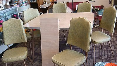 Vintage Mid Century Chrome Formica Table Set With 6 Chairs 1 Leaf