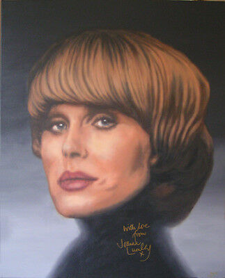 JOANNA LUMLEY Painting, AUTOGRAPHED by Her - video proof