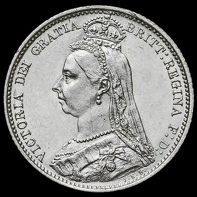 1888 Queen Victoria Jubilee Head Silver Sixpence – G/EF