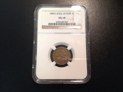 1858 1C Large Letters Flying Eagle Cent NGC VG 10.