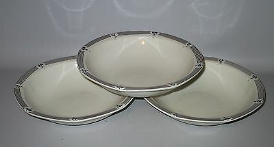 """Royal Doulton Calico Blue 3 Cereal Soup Bowls 7 3/4"""" Flowers Lines England"""