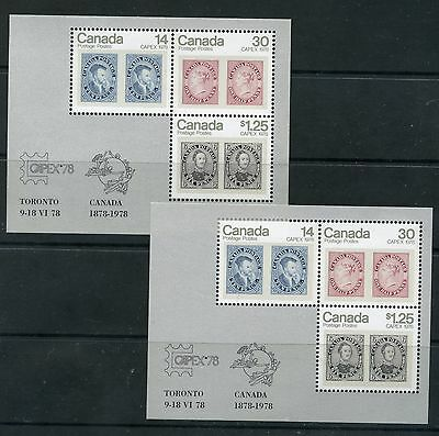 Weeda Canada 756a, 756ai VF mint NH 1978 CAPEX S/S on DF & LF papers CV $19.25