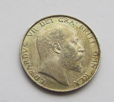 Edward VII 1902 silver shilling lovely toned coin almost uncirculated Excellent