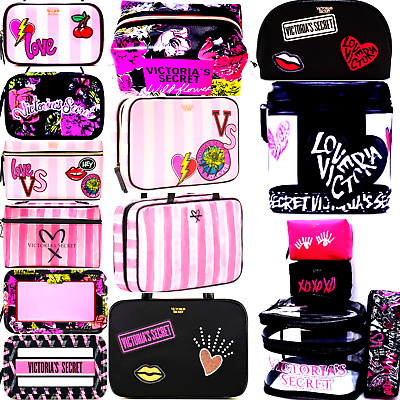 1dbbd10215ee VICTORIA'S SECRET PINK Striped Cosmetic Bags Travel Case Bling Vs Patch  Wldflwr