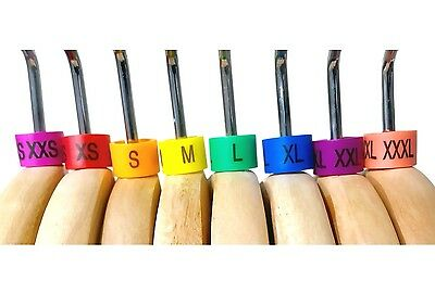 Colored Hanger Sizer Garment Markers (Sizes: XXS-XXXL) Color Coded Size Clips