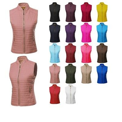 FashionOutfit Women's Solid Basic Quilted  Side Ribbed Waist Draw-Cord Vest Coat