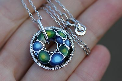 Russian Blue Enamel Sterling Silver 925 Circle Pendant and Silver Chain