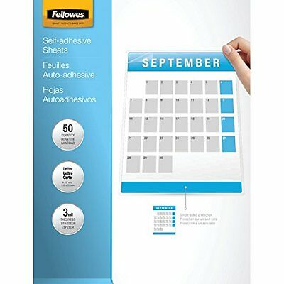Fellowes Laminating Sheets, Self Adhesive, Letter Size, 3 Mil, 50/Pack (52...NEW