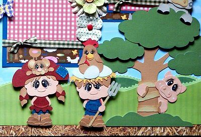 Funny Farm 2 Premade Scrapbook Pages Layout paper piecing for album boy girl