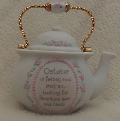 Precious Moments October is Feeling Cool Mini Teapot by Enesco 2001 Displayed