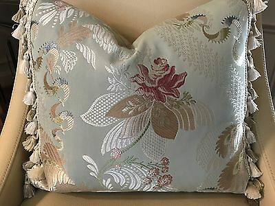 Scalamandre Baranzelli French Lace Roses Silk Lampas With R Allen Trim Pillow