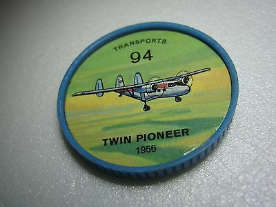Vintage 1960s Jell-O/Hostess Airplane Coin #94 - Transports - Twin Pioneer- 1956