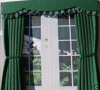 Dolls House Curtains Bottle Green Outside Bay - French Doors