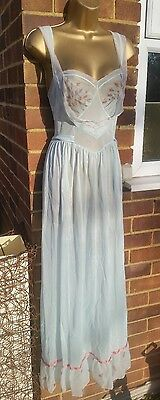 "Kayser Vintage size 34"" Nylon Jersey Blue Sheer Full Length Nightie Nightdress 6"