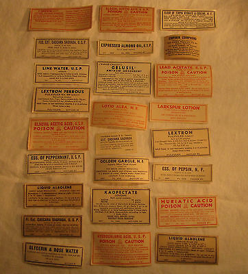 Lot of 25 Different Assorted Vintage Antique Medicine Drug Poison Medical Labels