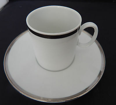 Thomas china 3 Coffee Cups & saucers. White with silver band