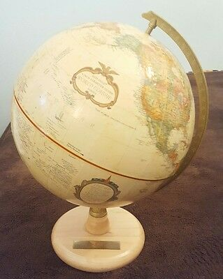 Vintage Replogle 9 inch Globe World Classic Series Wood Base Sprint Plaque Nice
