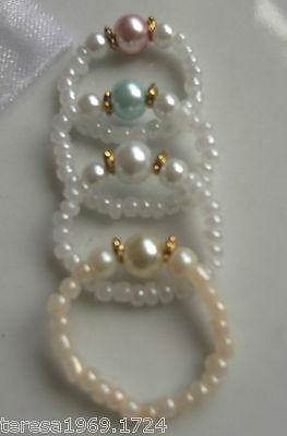 Hand made stretch glass pearl thumb ring big toe beaded ring stackable bridal